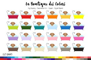 50 Rainbow Dog Bath Clip Art