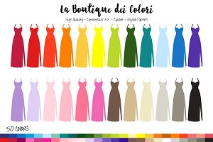 50 Rainbow Dress Clip Art