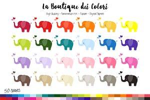 50 Rainbow Elephant Clip Art