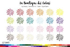 50 Rainbow Fireworks Clip Art