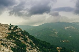 Panorama of mountain sky and forest