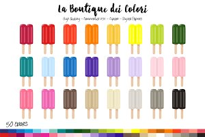 50 Rainbow Ice Lolly Clip Art