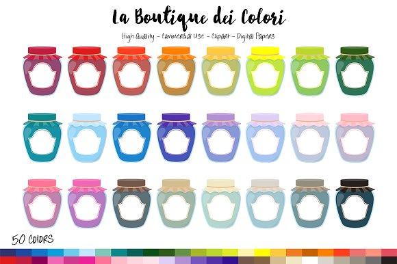 50 Rainbow Jam Jar Clip Art