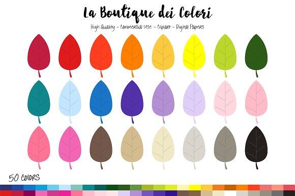 50 Rainbow Leaf Clip Art