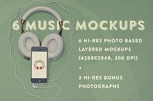 6 Music Hero Mockups +3 Bonus Photos