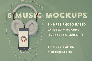 6 Music Hero Mockups +3 Bonus Photos