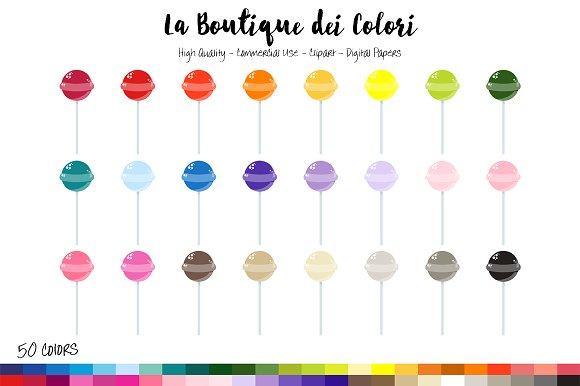50 Rainbow Lollipop Clip Art