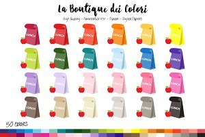 50 Rainbow Lunch Bag Clip Art
