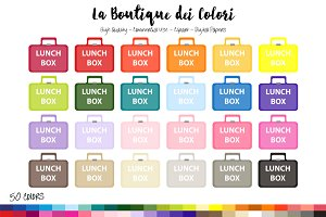 50 Rainbow Lunch Box Clip Art