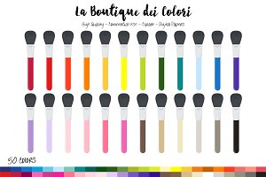 50 Rainbow Makeup Brush Clip Art