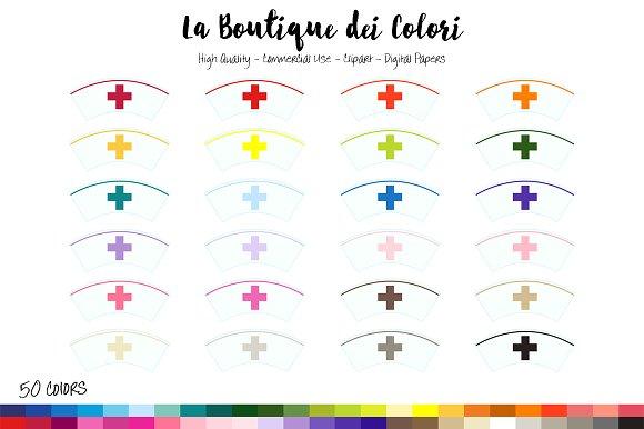 50 Rainbow Nurse Hat Clip Art