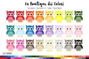 50 Rainbow Owl Clip Art