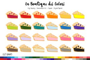 50 Rainbow Pie Slice Clip Art