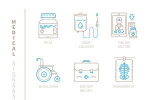 Medical iconset lineart