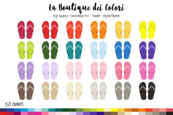 50 Rainbow Sandal Clip Art