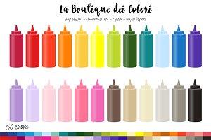 50 Rainbow Sauce Bottle Clip Art
