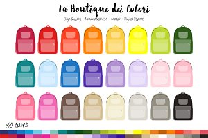 50 Rainbow School Bag Clip Art