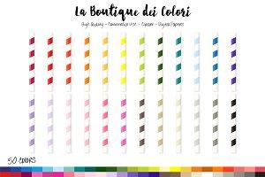 50 Rainbow Straws Clip Art