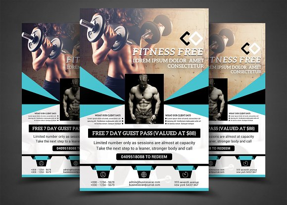 Body Fitness Gym Flyer Bundle Flyer Templates on Creative Market – Fitness Flyer