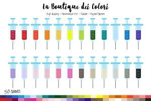 50 Rainbow Syringe Clip Art