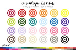 50 Rainbow Target Clip Art
