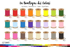 50 Rainbow Thread Spool Clip Art