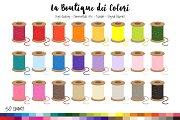 50 Rainbow Thread Spool Clip Art
