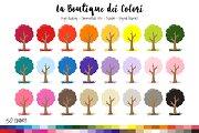 50 Rainbow Trees Clip Art