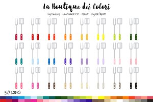 50 Rainbow Utensils Clip Art