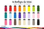 50 Rainbow Water Bottle Clip Art