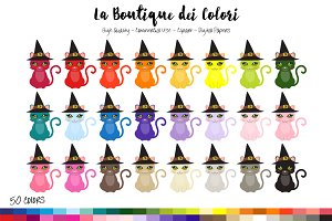 50 Rainbow Witch Cat Clip Art
