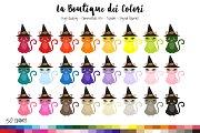 50 Rainbow Witch Cat Clip Art