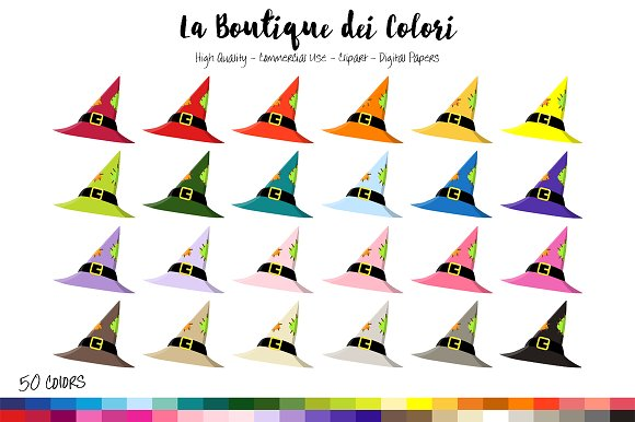 50 Rainbow Witch Hat Clip Art in Illustrations