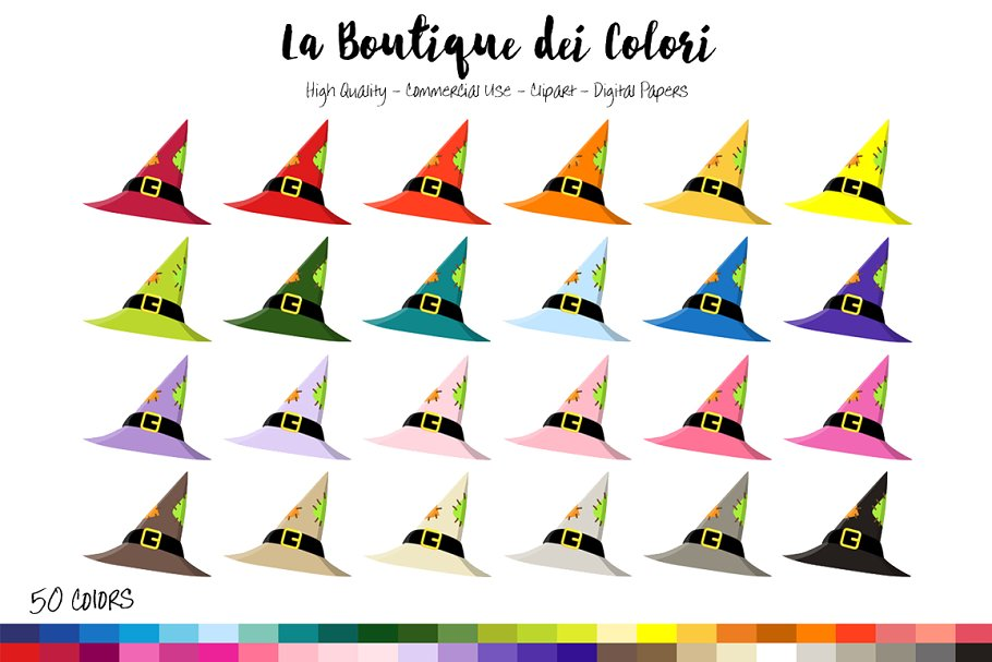 50 Rainbow Witch Hat Clip Art in Illustrations - product preview 8