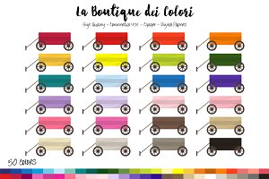 50 Rainbow Wooden Cart Clip Art