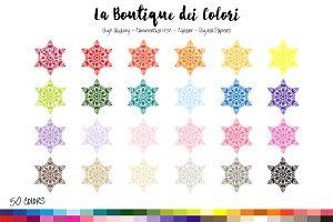 50 Rainbow Snowflake Clip Art