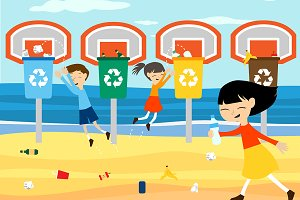 Children recycle cleaning beach