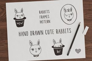 Set of hand drawn cute rabbits