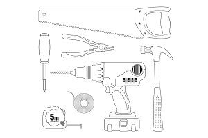 Renovation instruments set. Vector