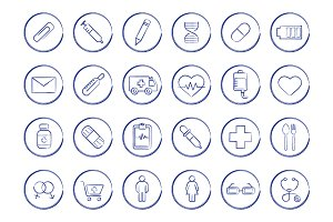 Medicine. 24 icons. Vector