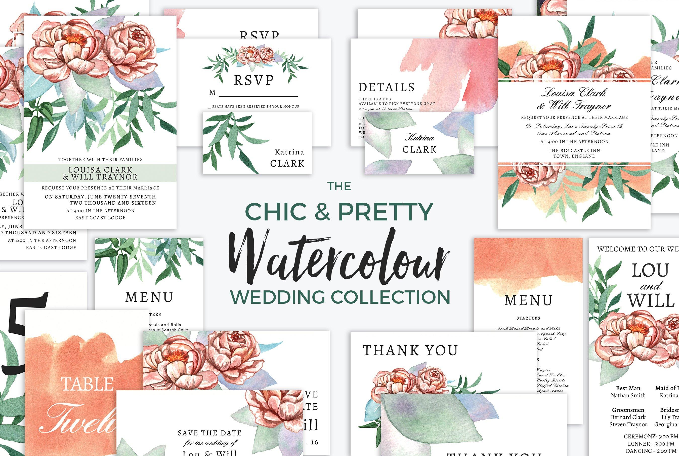Chic Watercolour Wedding Collection Templates Creative