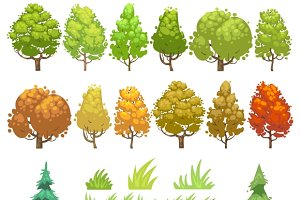 Trees and grass flat vector