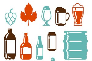 Beer icon and objects set.