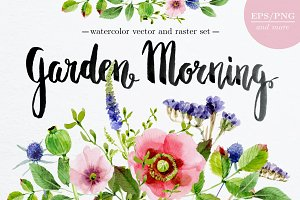 'Garden Morning' vector/raster set