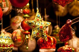 Christmas star on Vienna market