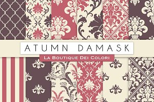 Autumn Damask Digital Papers