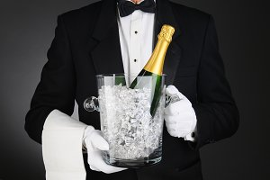 Sommelier with Champagne Ice Bucket