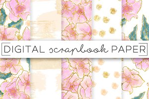 Pink Peach Florals Digital Paper