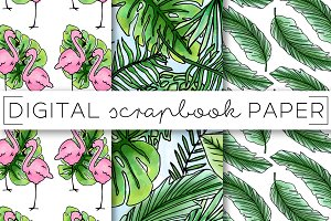 Tropical Foliage Digital Paper