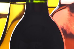 Abstract Closeup Five Wine Bottles